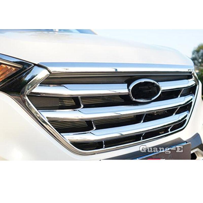 Protection de voiture Détecteur ABS garnitures chromées Avant De Grille Grille de Calandre Autour Du Cadre Lampe 1 pièces Pour Hyundai Tucson 2015 2016 2017 2018