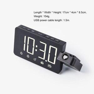 Image 5 - Цифровые электронные настольные часы, функция повтора, FM радио, громкие часы со светодиодной подсветкой и проекцией времени