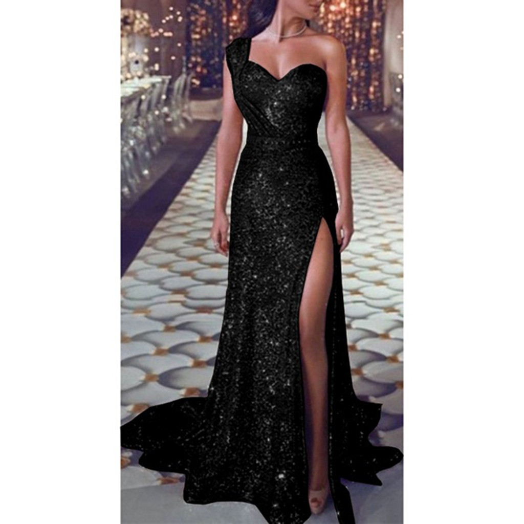 Sequin dress Women Sexy one shoulder Party dress Ladies Elegant robe Ball Gown Gold Bridesmaid V Neck High Split Long Dresss #XX
