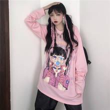 Japan Pink Oversized T-shirt Funny Long Sleeve Kawaii T Shirt Women Tee Femme Tops Ladies High Street TShirt Streetwear Girls