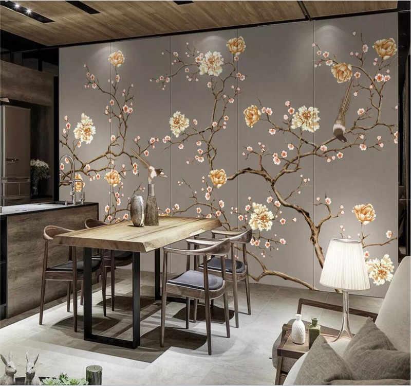 Profesjonalne niestandardowe wysokiej klasy tapety ręcznie malowane kwiaty i ptaki wall art wysokiej klasy na ścianie wysokiej jakości wodoodporny materiał
