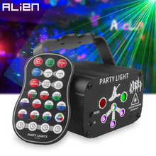 ALIEN RGB UV LED Party DJ Disco 60 Patterns Laser Light Projector Holiday Bar Christmas Halloween Wedding Stage Lighting Effect