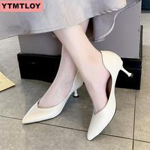 2019 HOT hot fashion womens shoes pointed shallow PU leather dress high heels wedding women