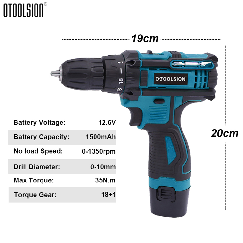1350rpm Battery Screwdriver 2Speed Cordless Drill Power Tools 12.6V Cordless Drill Driver Electric Drill Wireless With Accessory (1)