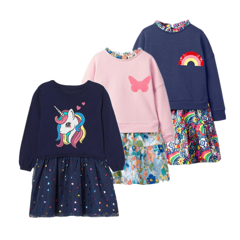 Kids Dress Toddler Girl Dresses Pink unicorn Baby Girl dress Casual Girl clothing 1-6 Y  Costume Girls  2021 brand spring Dress 1