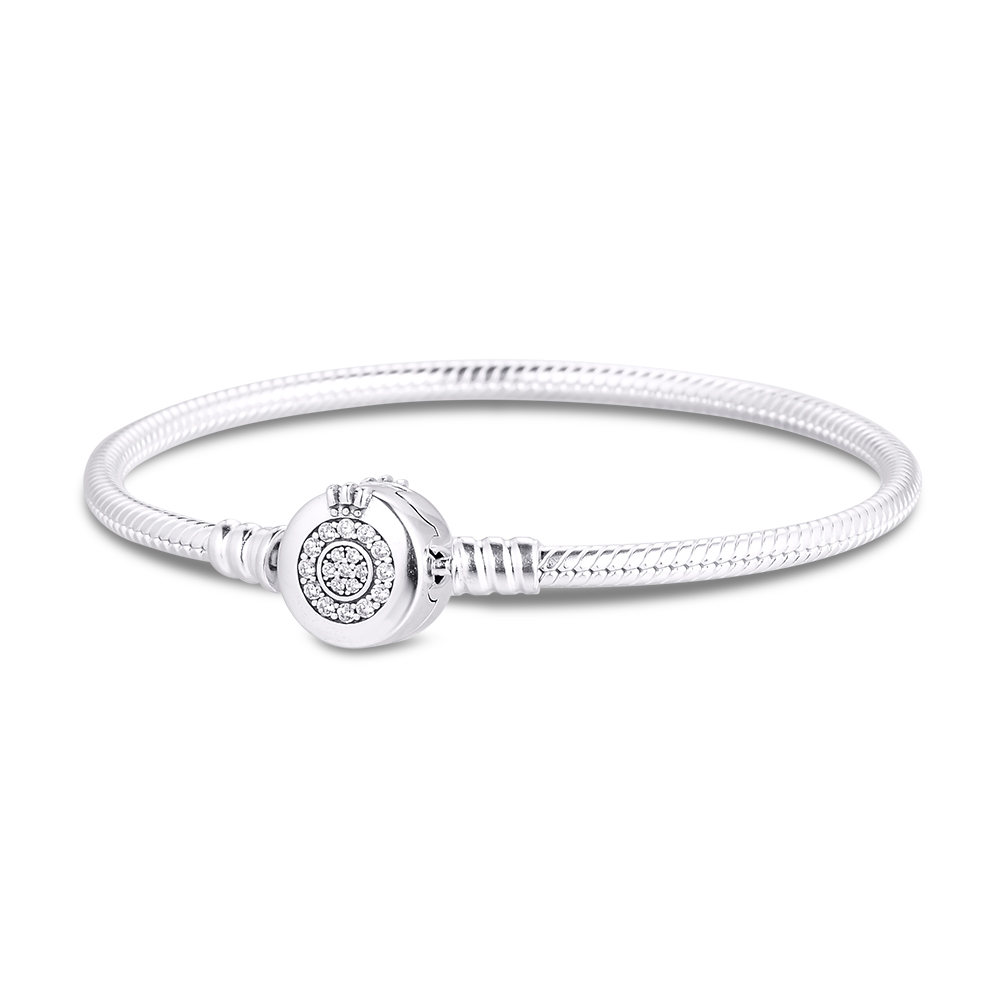 CKK Bracelet Sterling Silver Sparkling Crown O Bracelets for Women Feminina Masculina Pulseras Mujer Silver 925 Sterling jewelry