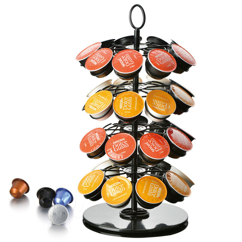Rotary Capsule Tower Stand Practical Coffee Capsules Holder Rack For Nespresso/Dolce Gusto/K-Cup Coffee Capsules