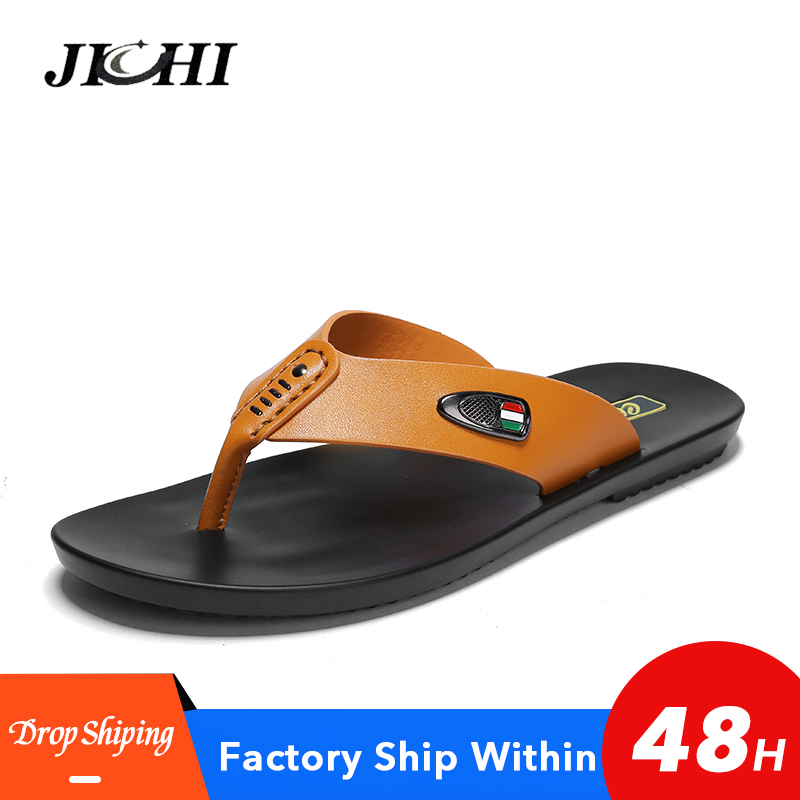 2019 New Brand Summer Men Slippers Male Leather Flip Flops Vintage Casual Beach Sandals Non-Slip Shoes Mens Gladiator Sandals