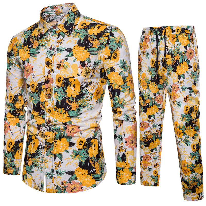 2018 New Products Men Fashion Flax Set Cotton Linen Casual Flower Shirt Set Combination Of Series 1302
