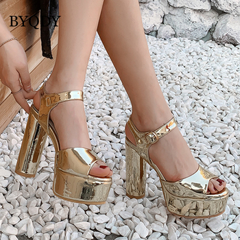 BYQDY Summer Fashion Platform Sandals Gold Silver Pink Peep Toe Mirror Patent Leather Ankle Strap High Heels Party Shoes Plus 42 gold silver genuine leather thin high heels platform buckle strap sandals fashion party shoes women