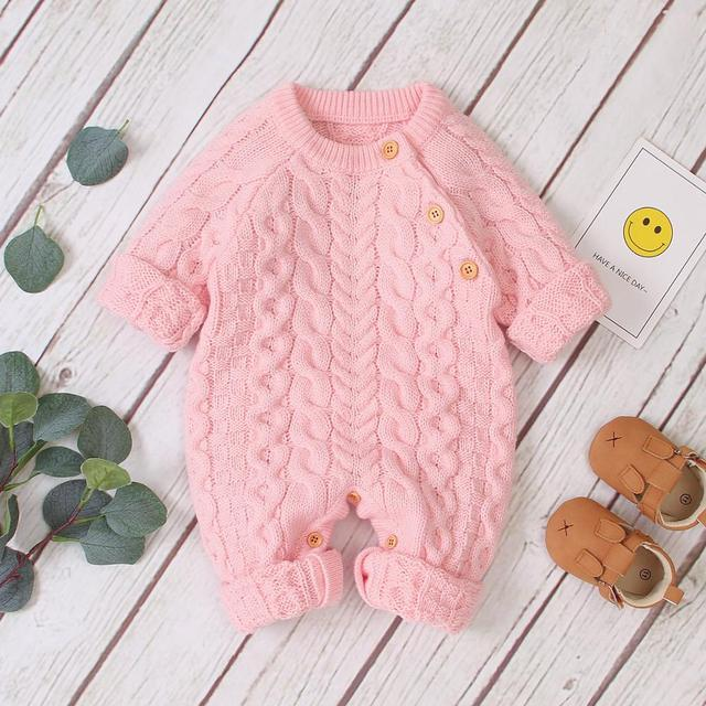 Baby Rompers Long Sleeve Winter Warm Knitted Infant Kids Boys Girls Jumpsuits Toddler Sweaters Outfits Autumn Childrens Clothes
