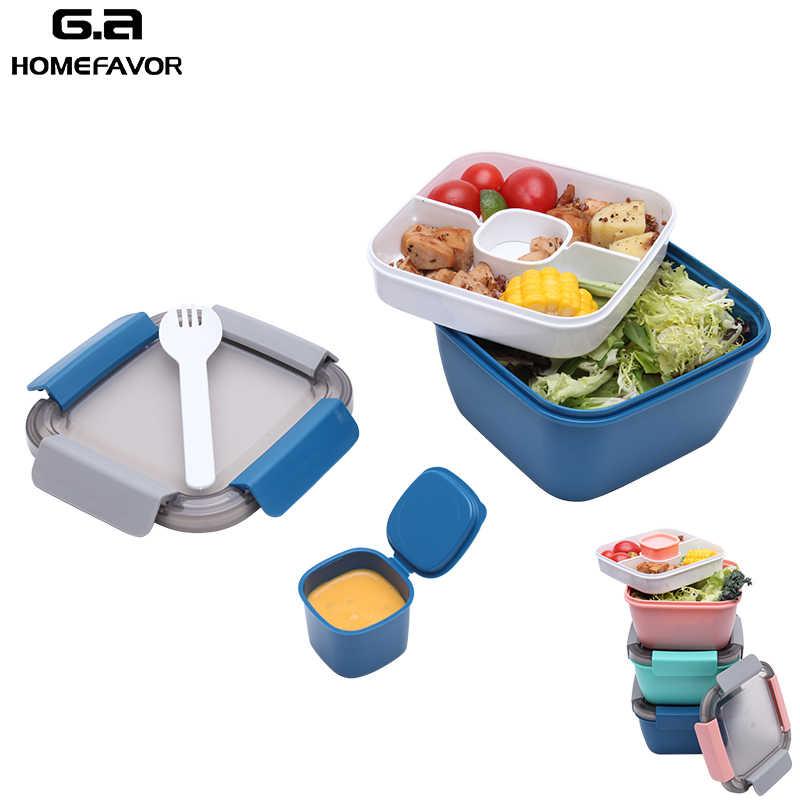 Slakom Lunch Container 2 Layer Verse Groente Opbergdoos Food Grade Gezonde Salade Container Doos Met Lepel