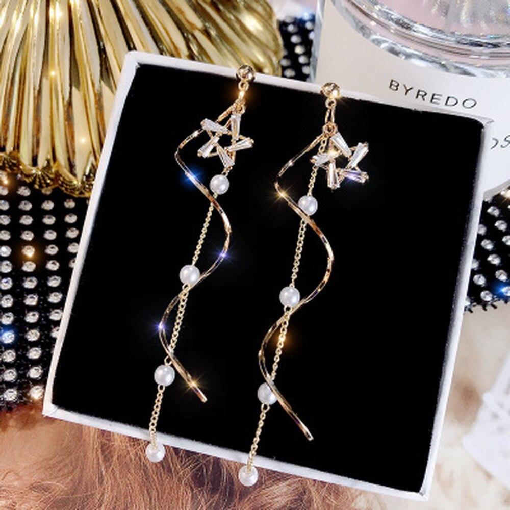 Корейские серьги 2020, женские серьги с кристаллами и жемчужинами, Геометрическая подвеска, свадебные украшения, подарок, бесплатная доставка Серьги-подвески      АлиЭкспресс