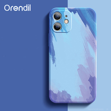 Orendil Liquid Silicone Square Watercolor Case for iPhone 11 Pro Max, Colorful Painting Soft Cover for iPhone 12 Mini Pro Max