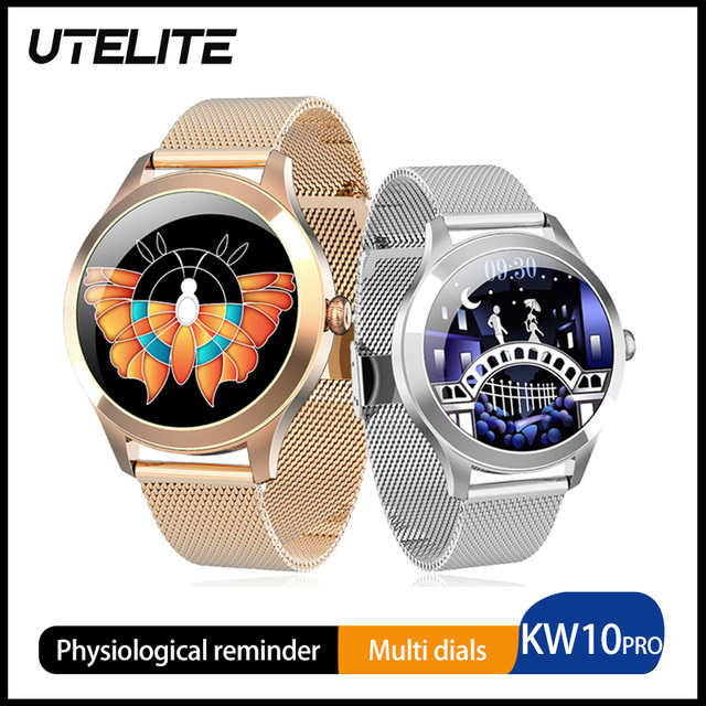 UTELITE ساعة متصلة KW10 pro للنساء ، شاشة تعمل باللمس ، IP68 ، مقاومة للماء ، مراقب معدل ضربات القلب ، النوم ، PK KW10 DT88 ، 2020