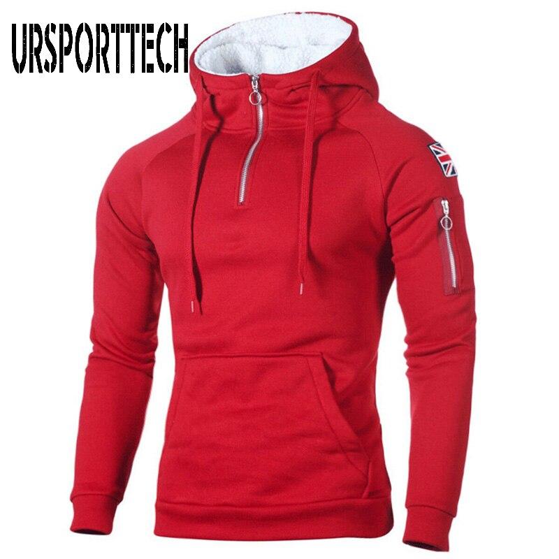 2019 New Winter Hoodies Men Warm Fleece Sweatshirt Neckline Sleeve Zipper Sport Hooded Sweatshirt Casual Solid Pullover Hoodie