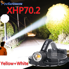 XHP70.2 100000LM Led Headlamp XHP70 Yellow White Led Headlight Fishing Camping Zoom USB Rechargeable Torch Use 3*18650 batteries