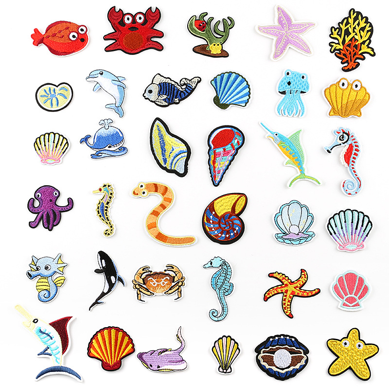 Marine Life Embroidery Patches Iron On Whale Stripes For Appliques Undersea Animals Clothes Stickers Dolphin Clothing Badges @G