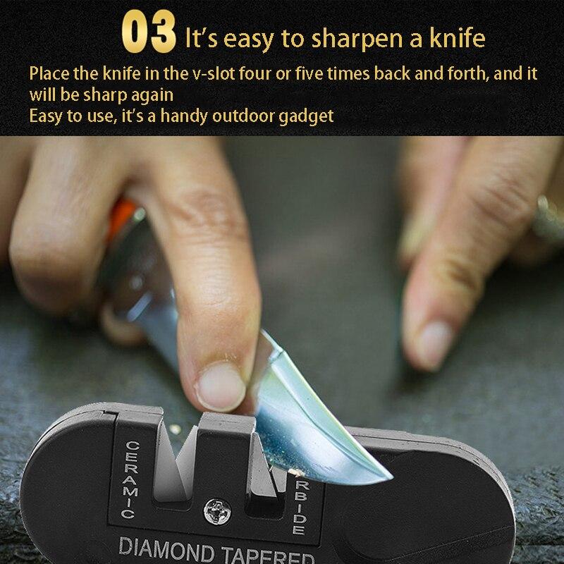 Outdoor Pocket Knife Sharpener Camping Equipment Portable Durable Outdoor Survival Tools Multifunctional Fish Hook Sharpen Stone
