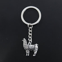 Fashion Keychain 26x25mm alpaca Grass Mud Horse Pendants DIY Men Jewelry Car Key Chain Ring Holder Souvenir For Gift(China)