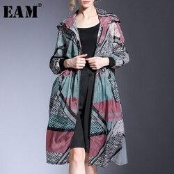 Женская куртка с капюшоном [EAM], черная тонкая Свободная куртка большого размера с длинными рукавами и принтом, весна-лето 2020 1U941