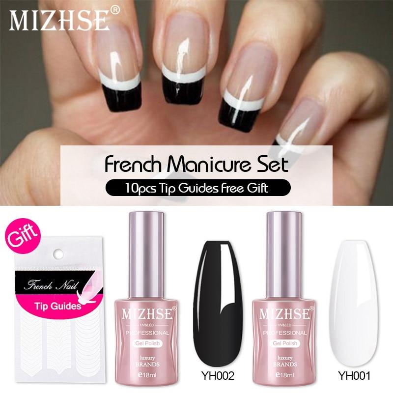 MIZHSE Black7&White Color French Manicure Kits Tip Guides Decorations Nail Art UV Gel Soak Off UV LED Gel Polish Set