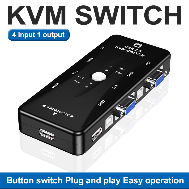 USB KVM VGA Switcher 4 Ports USB 2.0 KVM Switch Box Adapter One-Button Swapping For Computer, Keyboard, Mouse, Scanner, Printer