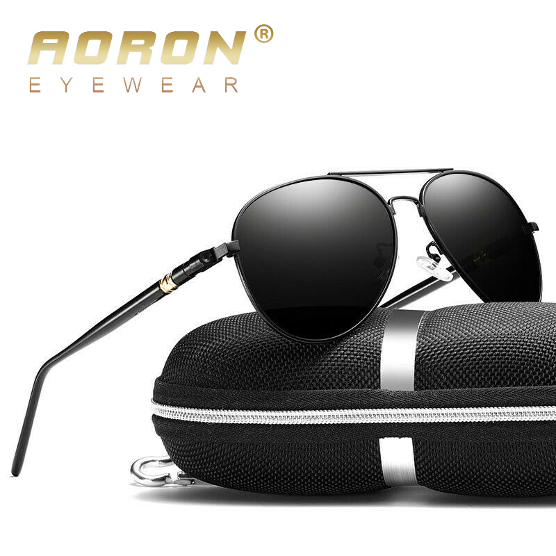 AORON Men Polarized Sunglasses Retro Classic Pilot Glasses Brand Goggoles Leisure UV400 Protection Metal Frame Oculos De Sol