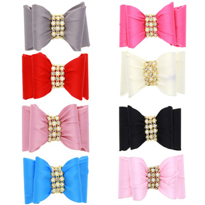 Hair Accessories For Girls Lovely Baby Girls Fashion Beaded Around Bowknot Hairpin Headdress Solid Cloth Clips For Kids 1-10T