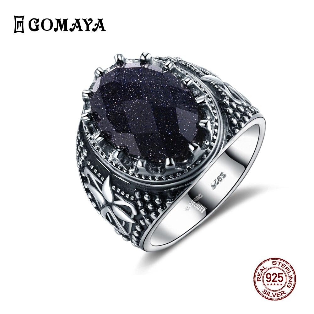 GOMAYA модный Голубой кристаллический кольца из стерлингового серебра 925 Ретро Винтаж ювелирных изделий женское кольцо бижутерия ювелирные у...