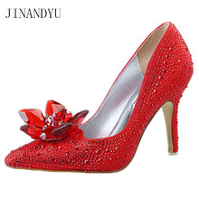 High Heels Wedding Shoes Woman Red Heels Fashion Rhinestone Bridal Pumps Women Shoes Party Ladies Shoes Size 34-43 Tacones цена и фото