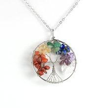 Женское и мужское ожерелье из натурального камня 7 чакр с кристаллом