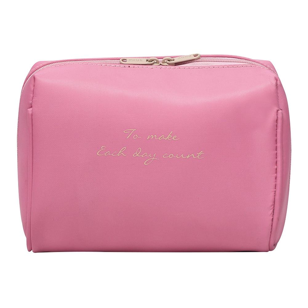 Women Fashion Portable Organizer Letter Print Universal Multifunction Large Capacity Nylon Cases Make Up Travel Cosmetic Bag
