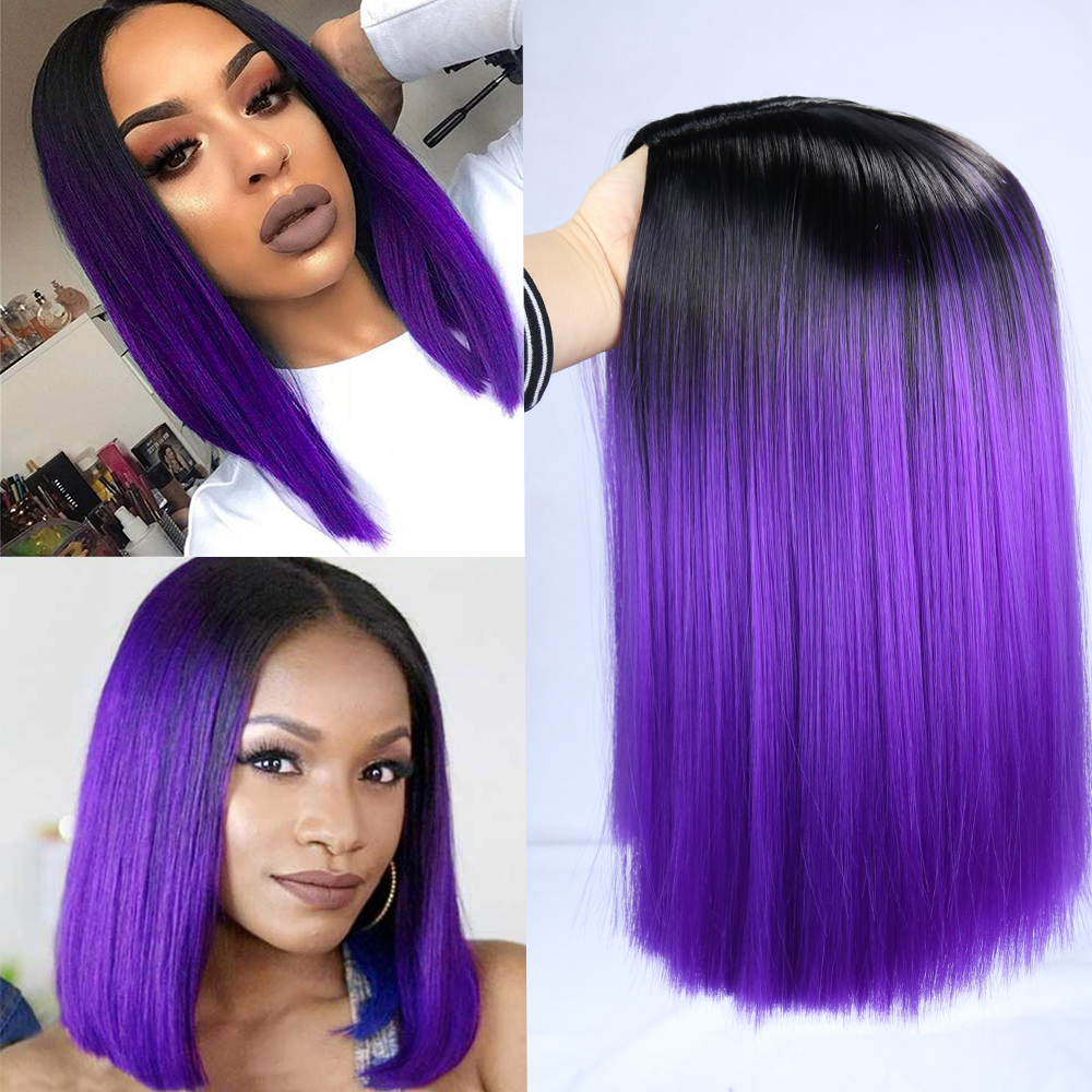 FAVE Ombre Black Purple/Blonde/Grey/Flax Brown/ Straight Synthetic Wig Shoulder Length Middle Part Cosplay For Black Women's Wig