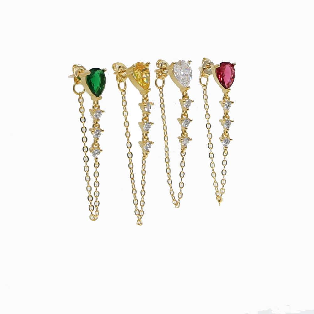 Tear drop cz quaste kette ohrring bunte birthstone zirkonia Gold farbe Wunderschöne stunning multi farbe stein schmuck