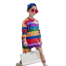 New Fashion Cotton Brand Rainbow Girls Sweatshirts Winter Spring Hit color Children hoodies Long Sleeves kids T-shirt