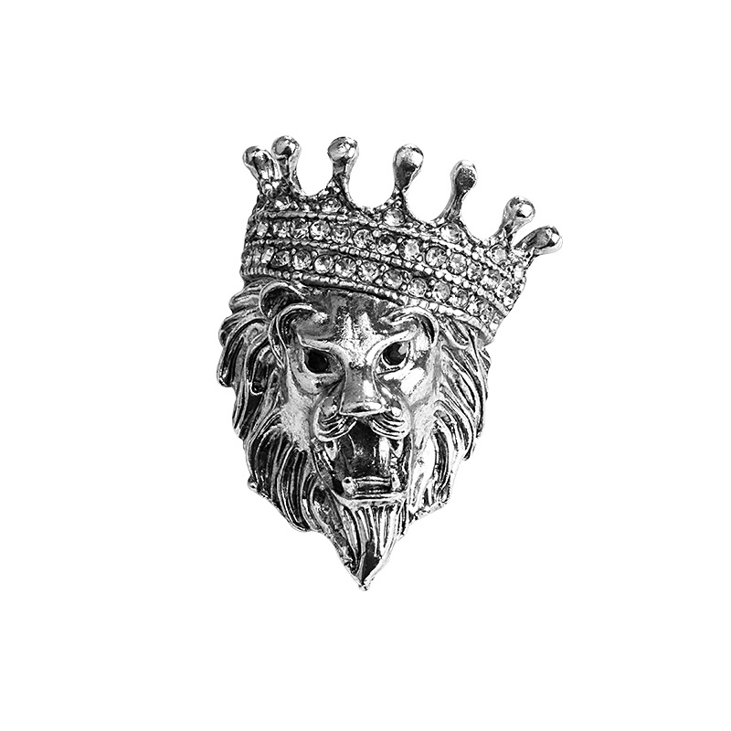 Vintage Animal Lion Head Brooch Crystal Crown Lapel Pin for Men and Women Suit Shirt Collar Pins Brooches Jewelry Accessories 5