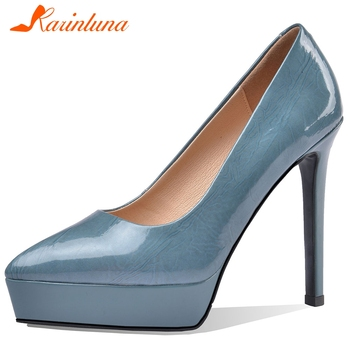 Karinluna 2020 Hot Sale Genuine Cow Leather Party Pumps Woman Shoes Thin High Heels Pointed Toe Slip-On Shoes Women Pumps