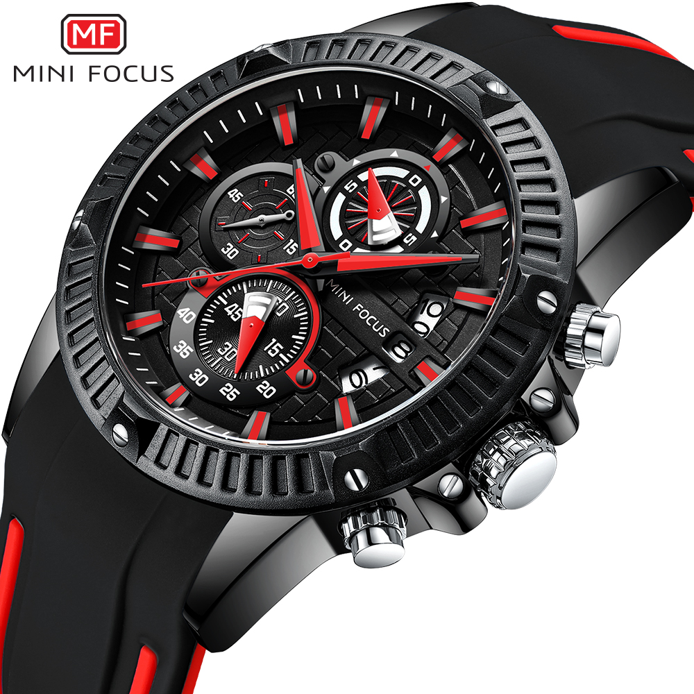 MINIFOCUS Luxury Brand Watch Men Waterproof Fashion Sport Clock Luminous Hands Quartz Men's Watches Reloj Hombre Silicone Strap