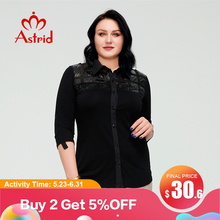 Astrid Summer Women's t-shirt 2021 Cotton Top Female Oversized with Short Sleeve Clothing Black jacket Blouses Leather Shirt