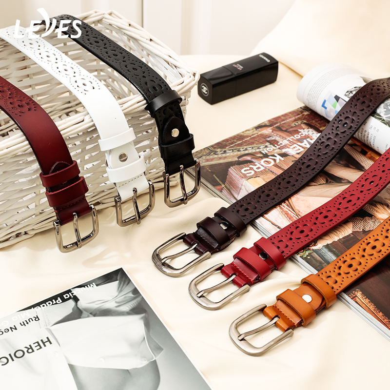 Cowskin Genuine Skinny Leather Belts For Women Fashion Carving  For Ladies Jeans Belt Slim High Quality Female Classic Ceinture