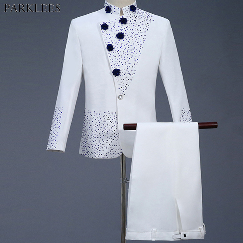 Mens White Suit Diamond Floral Men Suit  For Wedding Groom Tuxedo Suit Mens Suits With Pants Party Slim Fit Suit Men Suits Sets