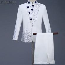 Mens White Suit Diamond Floral Men Suit  for Wedding Groom Tuxedo Suit Mens Suits with Pants Party Slim Fit Suit Men Suits Sets