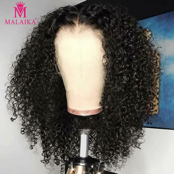 Malaika Jerry kręcone krótkie Bob koronki przodu włosów ludzkich peruk PrePlucked dla czarnych kobiet perwersyjne głęboka woda fala Frontal dziewiczy peruka