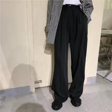 Hzirip alta qualidade retro em linha reta chic all-match solto comprimento total do vintage plus size alta cintura casual escritório senhora calças