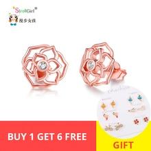 StrollGirl 100% 925 sterling silver Luxury Rose stud earrings With Cubic Zirconia Fashion Jewelry Womens Earrings 2019 Hot Sale
