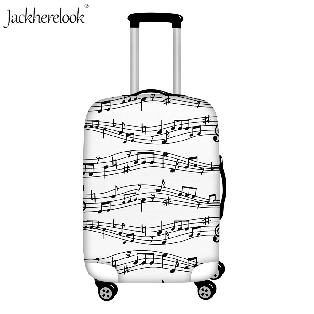Jackherelook White Music Notes Travel Suticase Cover Elastic Luggage Case Cover Dust Water Proof Case Luggage Baggage Bag Cover