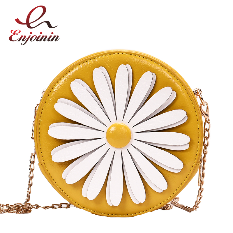 Round Style Daisy Women's Vacation Casual Shoulder Bag Pu Leather Purses And Handbags Crossbody Mini Bag Clutch Bag Totes Bolsa
