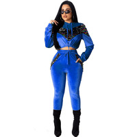 Velvet Sequin Splice Fall Winter Outfits Two Piece Set Women Hoodie Tops Pant Sweat Suit Velour Tracksuit Matching Sets Conjunto