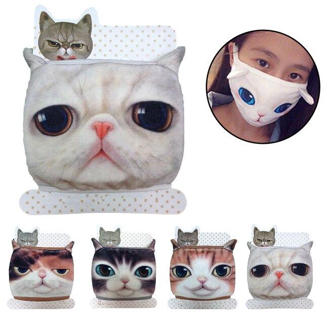 1PCS כותנה Dustproof פה פנים מסכת 3D בעלי החיים חתול נשים גברים מופל פנים פה מסכות נשים אופנה פנים מסכות